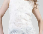 SALE 50 % Natural White Nuno Felted Top, Women's Small