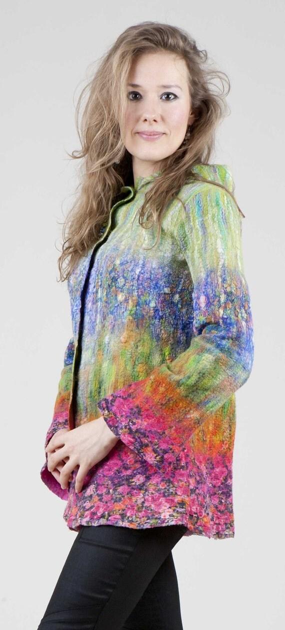 SALE 80 % Green, Blue, Pink, Orange Nuno Felted Jacket, OOAK, Handmade