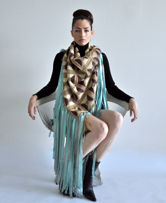Leather and wool crochet Scarf/Shawl with silk fringes.