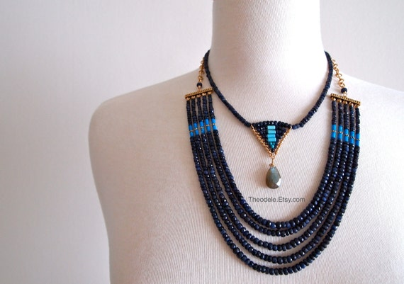 Sapphire and Turquoise Pyramid Necklace