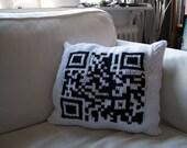 Hand knitted QR code pillow