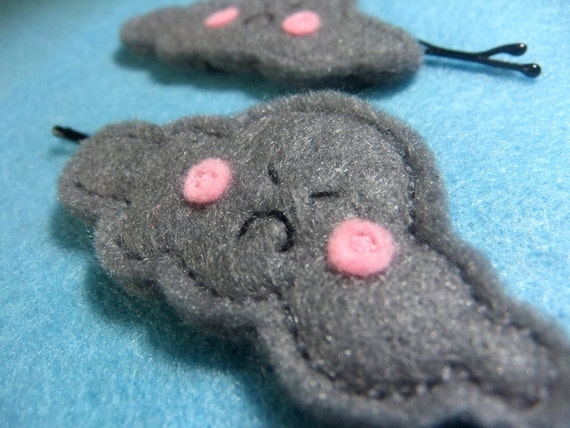 Pair of Grumpy Grey Felt Cloud Hair Clips