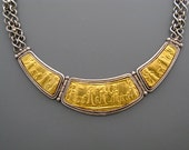 Reserved for Larkin - Babylon - necklace of pure gold repoussee on silver with hand made chains