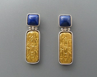 Sumer - earrings of pure gold repoussee on silver with lapis lazuli