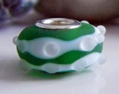 Large Hole Silver Lined Green Etched - Lampwork Bead - SRA