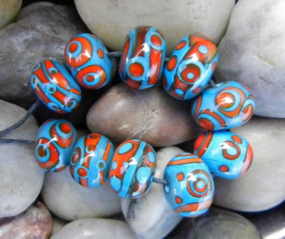 Turquoise and Red Lampwork Beads - 10 Handmade Glass Beads SRA
