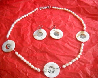 Freshwater Pearls and Shell/Mother of Pearl  Necklace