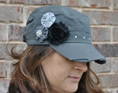 Military/Cadet Distressed Dark Grey Hat with Shabby Chic flowers, Womens Hat