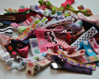 baby hair clips, grab bag, infant hair clips, toddler hair clips, grab bag of hair clips, no slip hair clips, baby barrettes, small bows