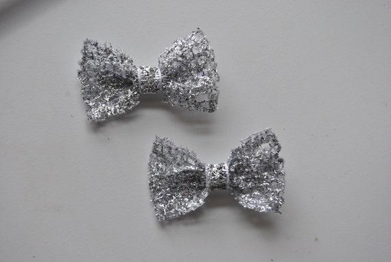 Sparkly Silver Mini Hair bows-Pig Tail Set, Girls Silver bows, Womens Silver bow