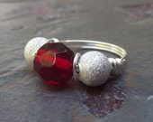 Red and Silver Ring:  Fine Silver Sparkle Wire Wrapped Ring, Valentines Day Cocktail Jewelry, Red Glass Statement Ring, Custom Size