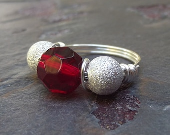 Red and Silver Ring:  Fine Silver Sparkle Wire Wrapped Ring, Christmas Cocktail Jewelry, Red Glass Statement Ring, Custom Size