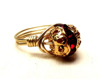 July Birthstone Ring: Vintage Ruby Red Swarovski Crystal with Gold Filigree, Gold Wire Wrapped, Size 7.5