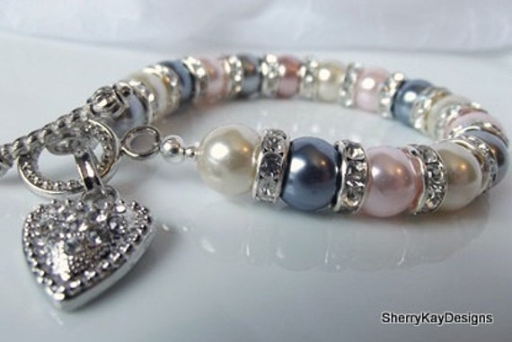 Heart Pearl Bracelet:  Pink Rose Gray Silver Cream, Crystal & Glass Pearl, Bridal Bridesmaid