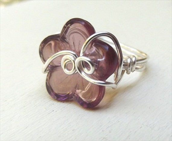 Phlox Purple Wire Wrapped Ring - Flower Petal Glass - Silver Plated - Forget Me Knot Size 7 Ring