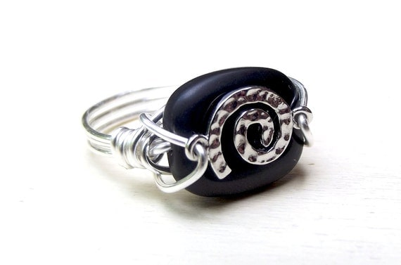 RESERVED for SHARON, Sterling Silver Swirl Ring:  Hammered Silver Wire Wrapped Ring, Opaque Jet Black Ring