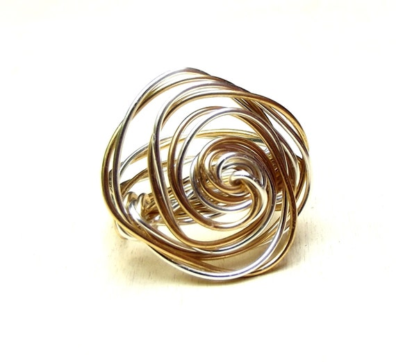 Gold & Silver Rosette Ring:  Twisted Two Tone Wire Wrapped Ring, Freeform Bold Rose Ring, Size 7, Custom Size