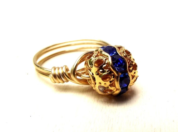 Sapphire Crystal Ring:  Gold Wire Wrapped Ring, Vintage Swarovski Elements, Deep Blue September Birthstone Ring, Size 7