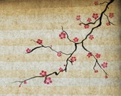 2 Handpainted Cherry Blossom paper window shades