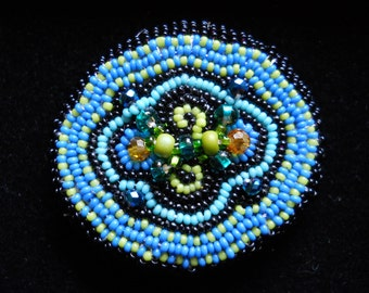 Small Turquoise Hand Seed Beaded Barrette and Pin Combo