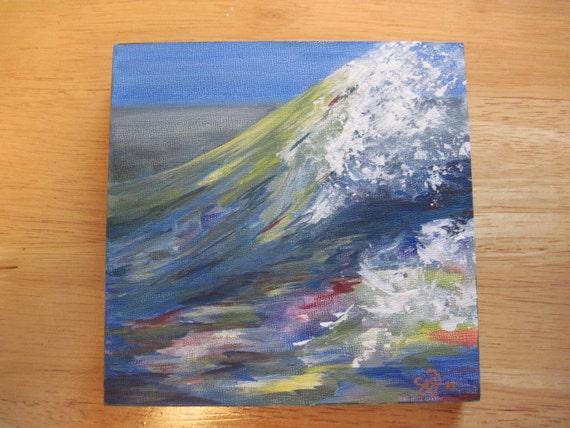 """OCEAN SPLASH a 6"""" square origninal ocean painting of a breaking wave"""