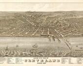 Vintage Map - Cleveland, Ohio 1877