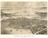 Vintage Map - Boston, Massachusetts 1870