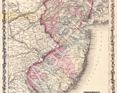 Vintage State Map - New Jersey 1862