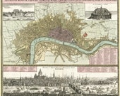 Vintage Map - London England - 1740