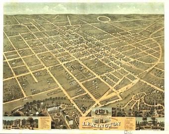 Vintage Map - Lexington, Kentucky 1871