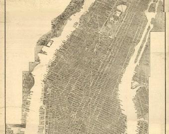 Vintage Map - Manhattan, New York 1900
