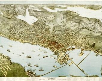 Vintage Map - Seattle, Washington 1891