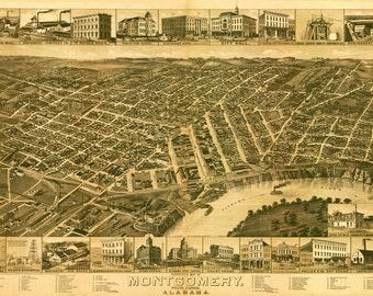 Vintage Map - Montgomery Alabama 1887