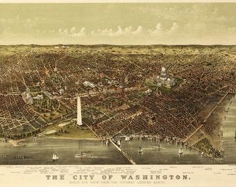 Vintage Map - Washington DC 1892