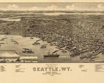 Vintage Map - Seattle, Washington 1884