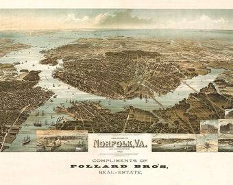 Vintage Map - Norfolk, Virginia 1892