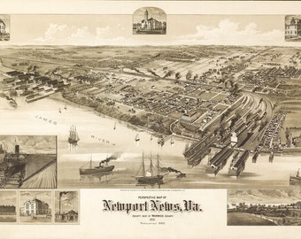 Vintage Map - Newport News, Virginia 1891