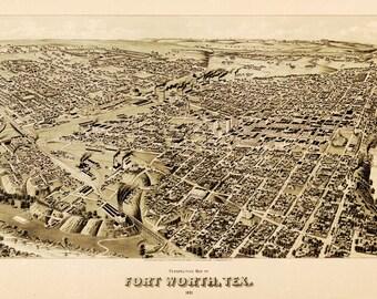 Vintage Map - Fort Worth, Texas 1891