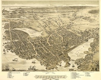 Vintage Map - Portsmouth, New Hampshire 1877