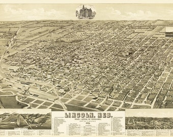 Vintage Map - Lincoln, Nebraska 1889