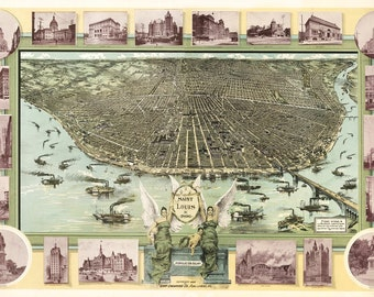 Vintage Map - St Louis, Missouri 1896