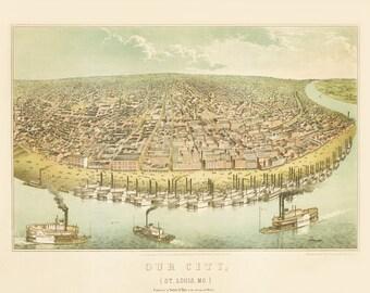 Vintage Map - St Louis, Missouri 1859