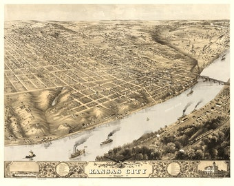 Vintage Map - Kansas City, Missouri 1869