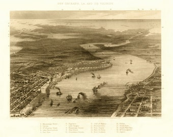 Vintage Map - New Orleans, Louisiana 1863