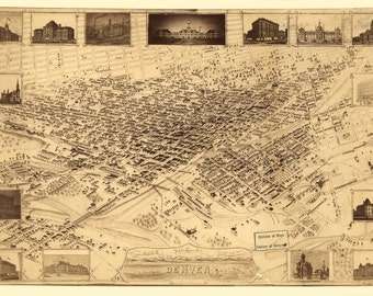 Vintage Map - Denver, Colorado 1881