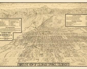 Vintage Map - Colorado Springs, Colorado 1909