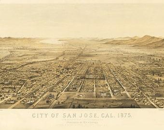 Vintage Map - San Jose, California 1875