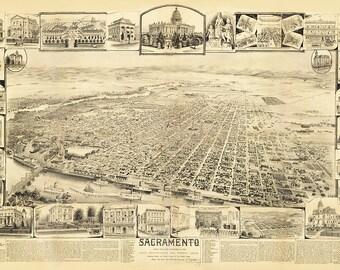 Vintage Map - Sacramento, California 1890