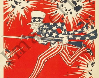 World War 1 Poster - Uncle Sam's birthday July 4th 1776-1918 142 years young and going strong