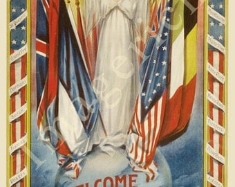 World War 1 Poster -  Welcome home our gallant boys